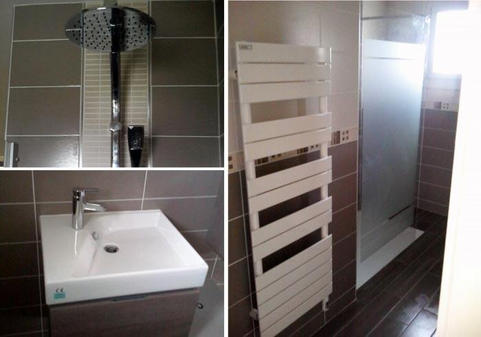 Plombier - Création d'une salle bain avec douche et meuble vasque suspendu
