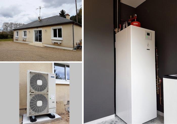 Remplacement d'une chaudière fioul par une pompe à chaleur air/eau à Chécy dans le Loiret