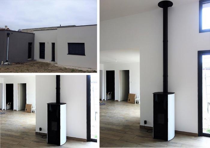 Poêle à granulés de bois Palazzetti comme chauffage principal dans une maison RT2012 à Pernay  37 Indre et loire