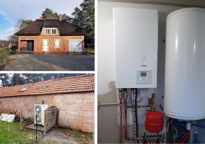 Pompe à chaleur air eau, installation d'une pompe à chaleur Hitachi Yutaki à Vannes sur Cosson.