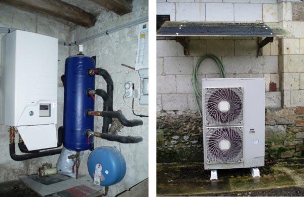 Installation pompe à chaleur Daikin avec relève par chaudière fioul