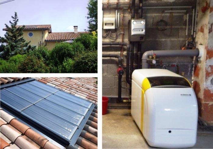 Chaudière fioul à condensation De Dietrich et eau chaude solaire Clipsol à Jassans Riottier - 01 AIN
