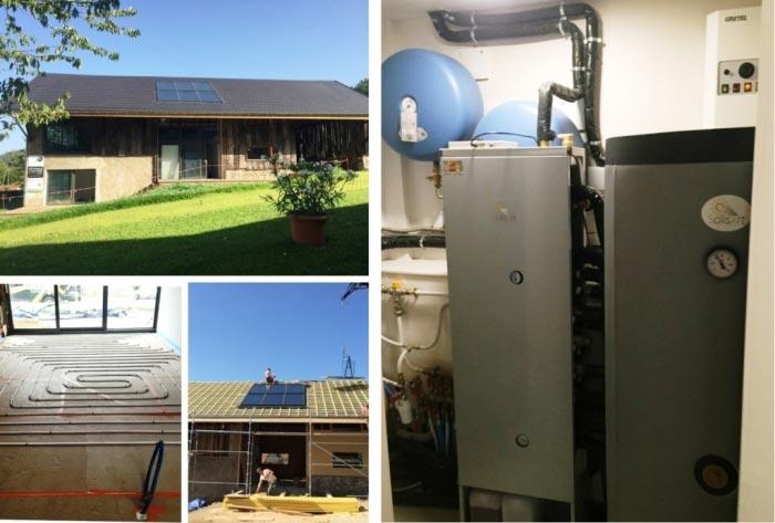Installation de chauffage solaire (SSC) Solisart avec appoint par petite chaudière électrique et plancher chauffant