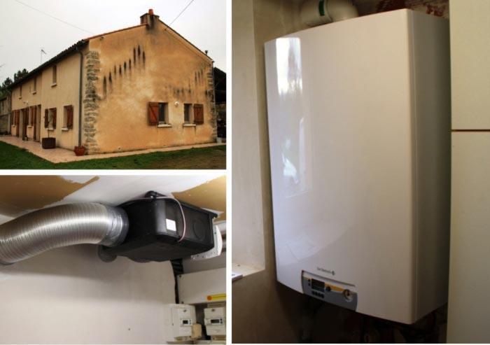 Installation chaudière gaz à condensation  De DIETRICH et VMC ALDES