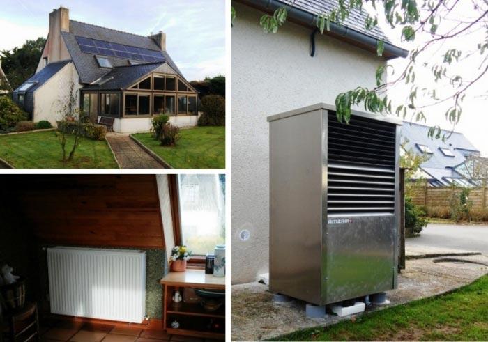Pompe à chaleur ( PAC ) air-eau ( aérothermie ) de marque Amzair à Henvic 29 Finistère