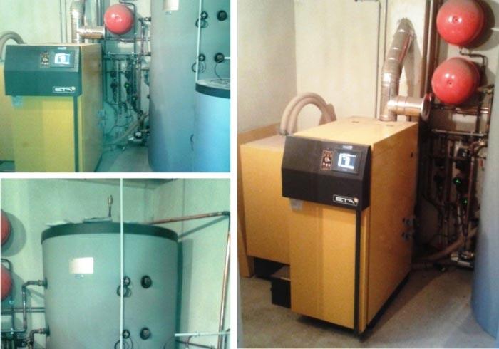 Installation chaudière mixte bois bûches/granulés ( pellets ) de marque ETA avec silo granulés à Virigneux