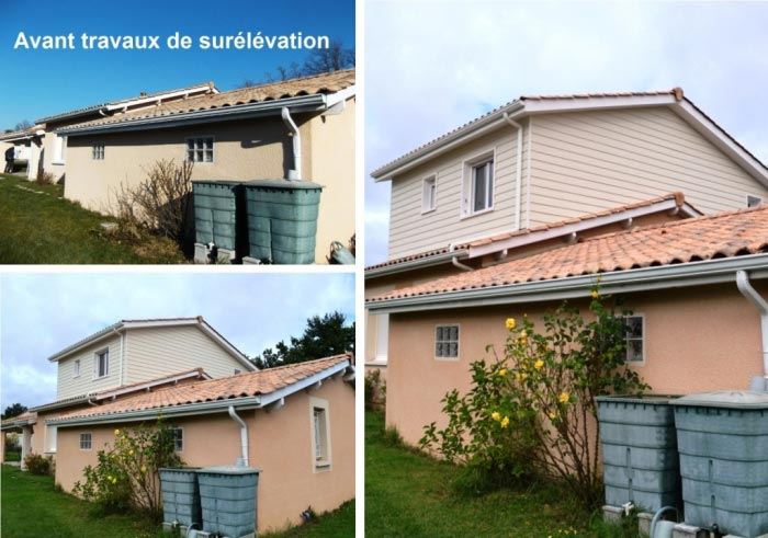 Agrandissement de surface habitable par surélévation en ossature bois d'une maison à Montussan, 33 Gironde, Aquitaine