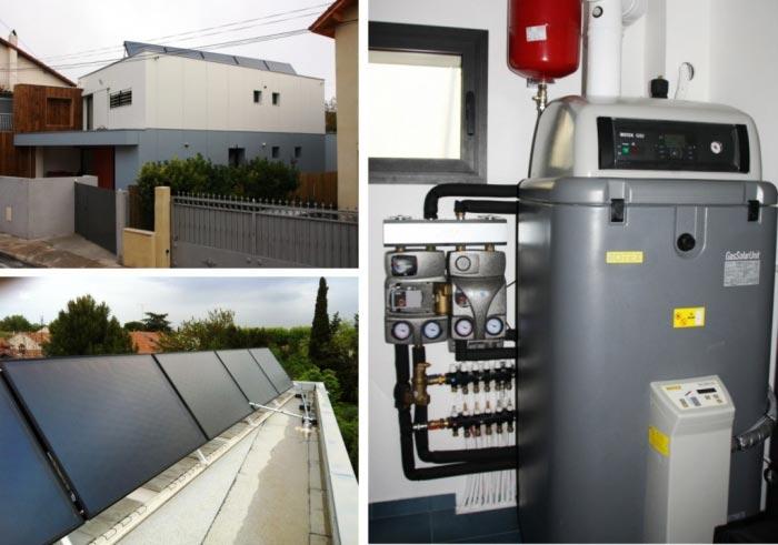 Chauffage Solaire Combiné (SSC) avec chaudière gaz à condensation GSU 15Kw Rotex / Daikin à Nimes 30 gard