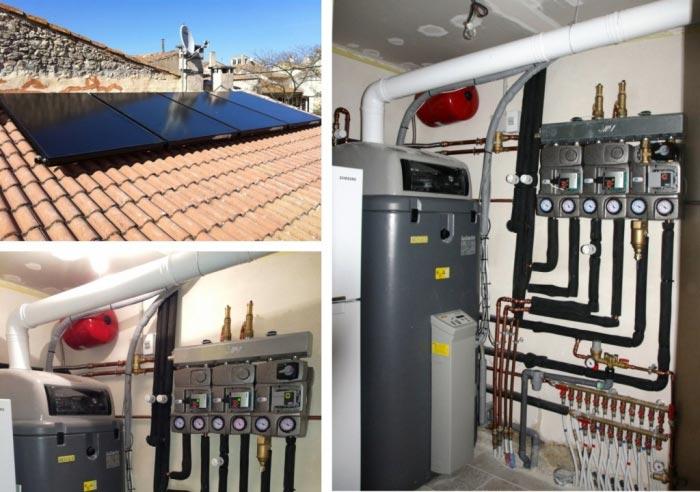 Chauffage Solaire Combiné (SSC) avec chaudière gaz à condensation GSU 15Kw Rotex / Daikin à Montfrin 30 gard
