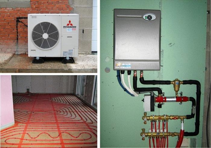 Pose d' une Pompe à Chaleur Air/ Eau sur plancher chauffant hydraulique