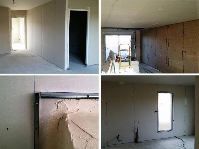 Réalisation de cloisons sèche en plaque de plâtre et isolation de murs