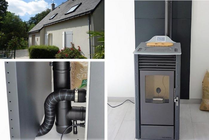 Poêle à granulés de bois (pellets) Hoben en Appoint à Montlouis sur Loire  37 indre et loire