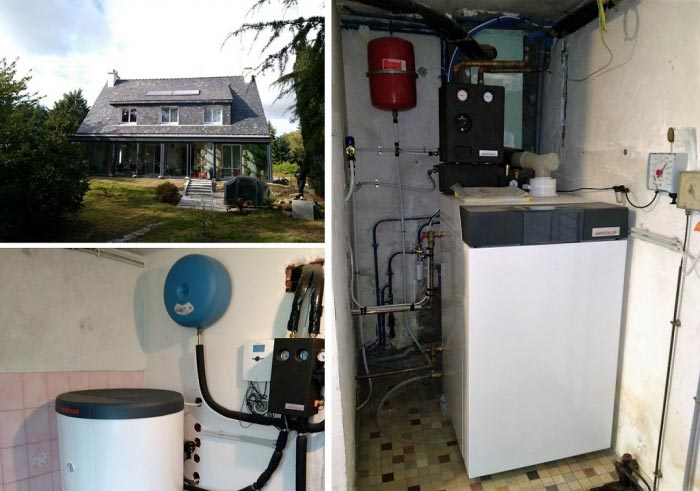Vente installation chaudière fuel condensation combiné panneaux solaire WEISHAUPT 56850 CAUDAN
