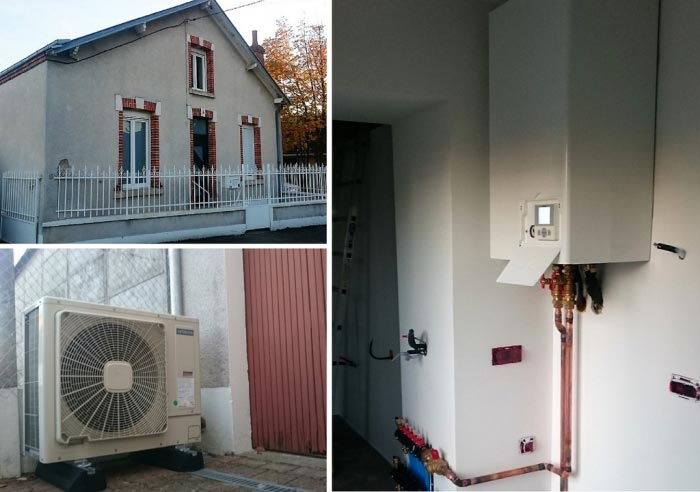 Pompe à chaleur hitachi Yutaki S3 en rénovation sur un plancher chauffant à Orléans 45 dans le Loiret