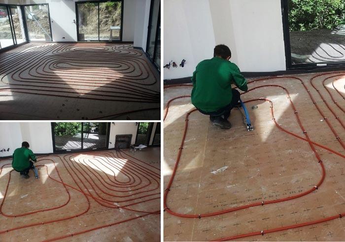 Création d'un plancher chauffant Eau Basse Température.