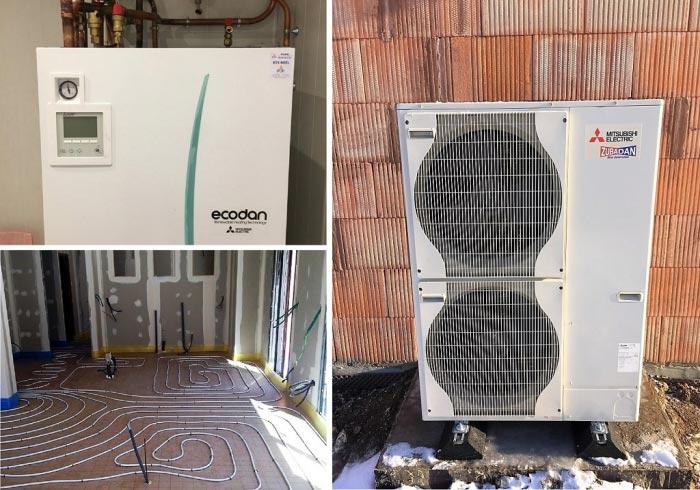 Pompe à chaleur air-eau (PAC) aérothermie Mitsubishi Ecodan hydrobx Zubadan à Essegney 88130 Vosges