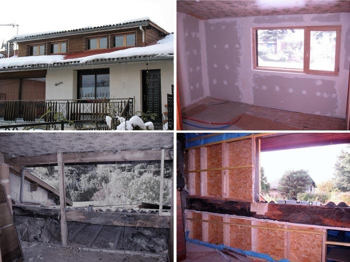 Rénovation thermique, reprise des murs et isolation, changement des menuiseries, électricité plomberie.