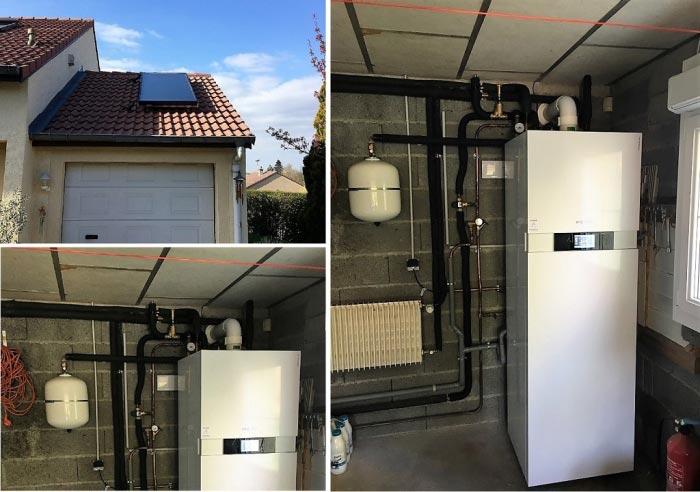 Chaudière gaz (chauffagiste) à condensation Viessmann Vitodens 222 avec eau chaude solaire à Charmes 88130 Vosges