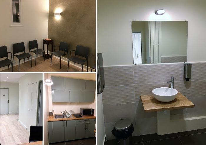 Réfection complète d'un cabinet médical en électricité, plomberie, chauffage, menuiserie et peinture - Ile de France