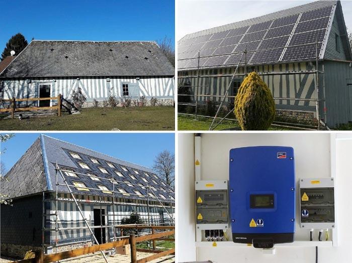 Renovation couverture, installation solaire photovoltaique SOLARWORD avec onduleur SMA, installateur solaire photovoltaique, Lieurey 27 Eure