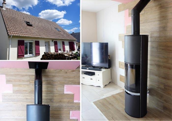 Poêle à bois bûches  Palazzetti en Appoint chauffage à Ambillou 37 Indre et Loire-Indre et Loire (37)