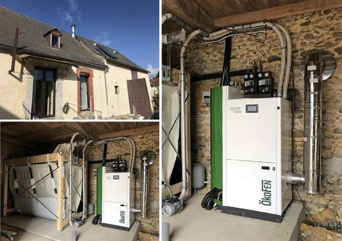 installation chaudière à granulé de bois avec système solaire combiné