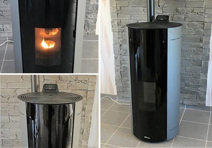 Installation d'un poêle à granulés de bois (pellets) Fonte Flamme