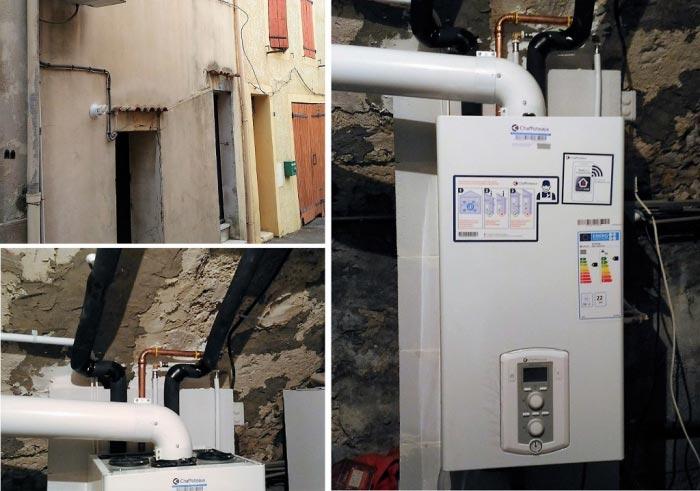 installation d'une chaudière chaffoteaux condensation gaz, création d'un réseau de chauffage central radiateurs acier