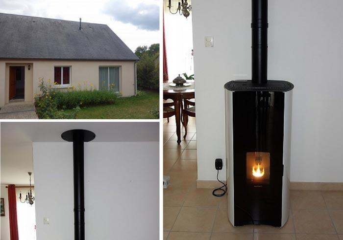 Poêle à granulés de bois Palazzetti en appoint chauffage électrique à Cinq Mars La Pile  37 Indre et Loire