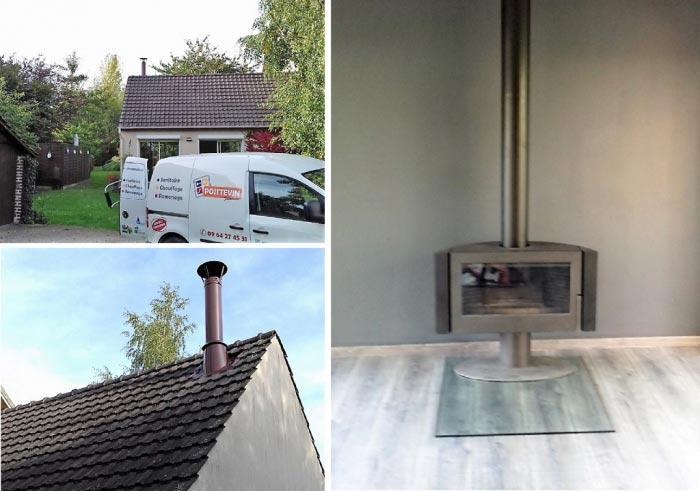 Installation d'un poêle à bois et création d'un conduit de cheminée.