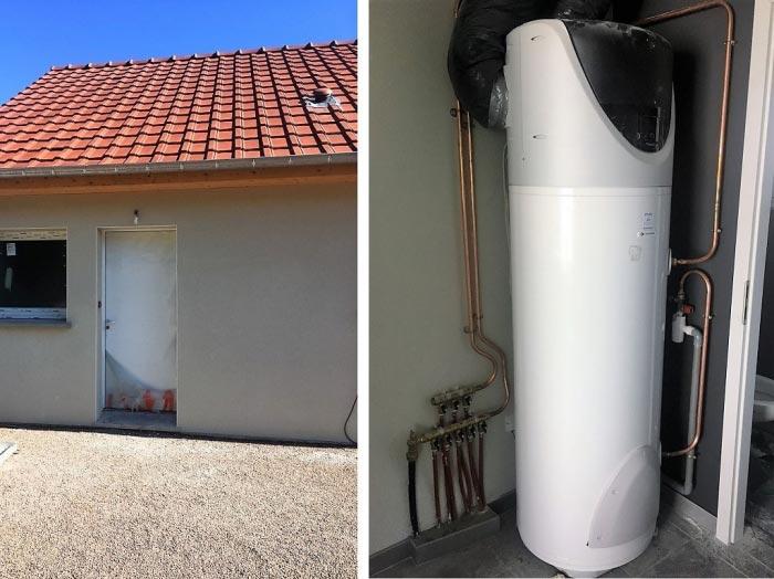Installation d'un chauffe eau thermodynamique Chaffoteau et Maury