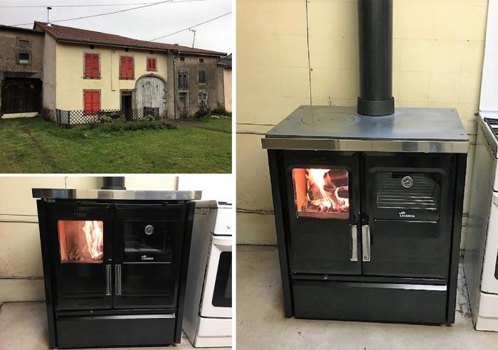 Installation d'une cuisinière à bois LACUNZA modèle ETNA5