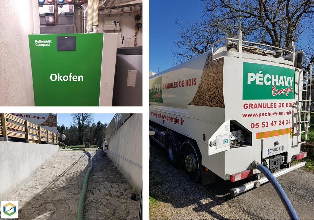 Livraison Granulés de bois Péchavy en vrac chez client régulier - Nouvelle Aquitaine