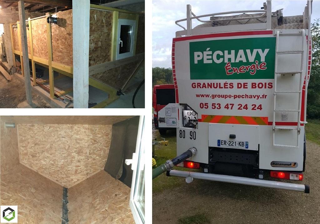 Remplacement chaudière fioul - Construction silo - Granulés de bois vrac Péchavy - Installateur RGE Qualibois B ALEXIS Thermique