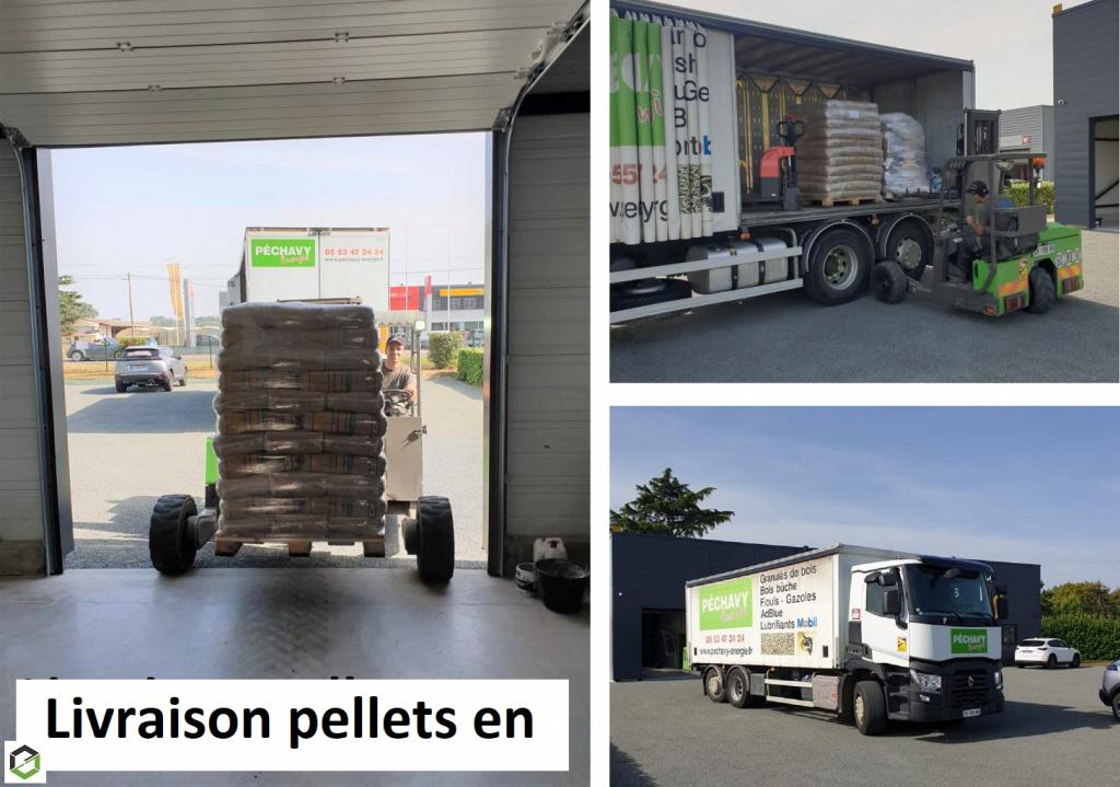 Livraison de granulés de bois Péchavy pour notre partenaire Godin situé à proximité de Marmande