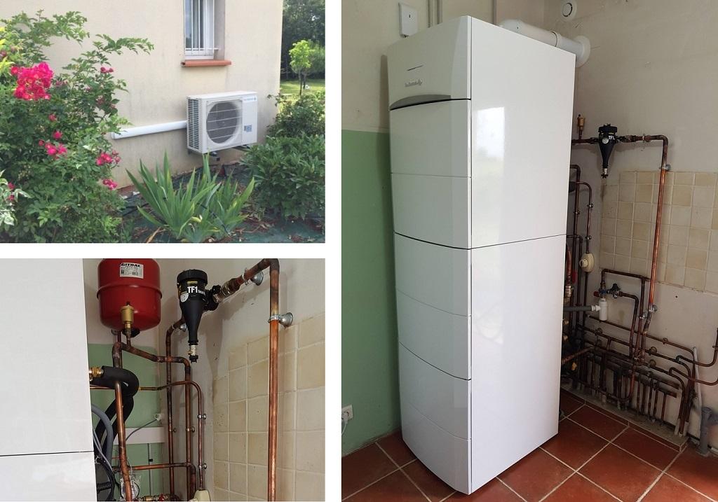 ETS VELLARD. Installation QualiPac RGE d' une pompe à chaleur Hybride gaz condensation De Dietrich 47 Lot et Garonne. AGEN