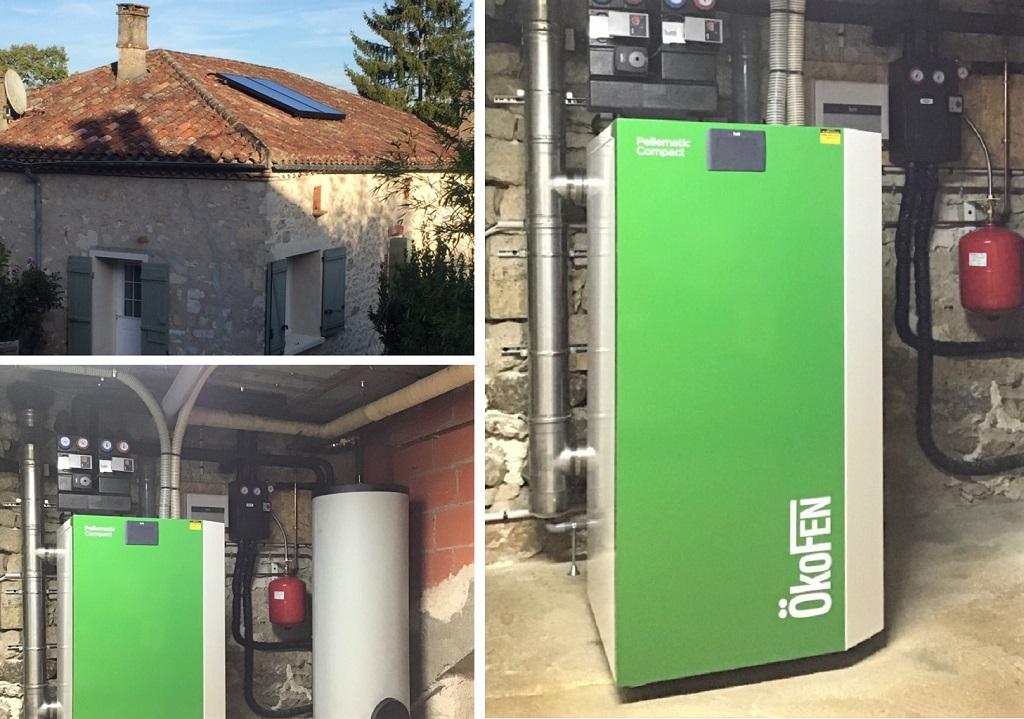 ETS VELLARD. Chauffage Installation Qualisol RGE Panneaux solaires thermiques avec chaudière granulés de bois Okofen