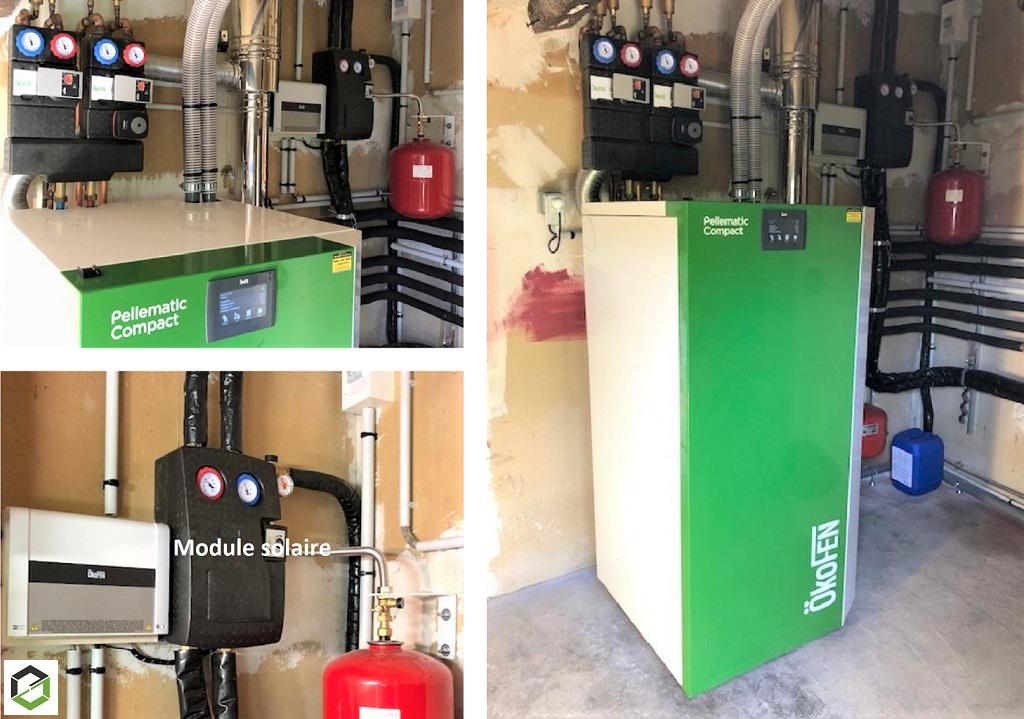ETS VELLARD Chauffage Installation Qualibois RGE /  Qualisol RGE - Chaudière granulés de bois Okofen avec Panneaux solaires thermiques