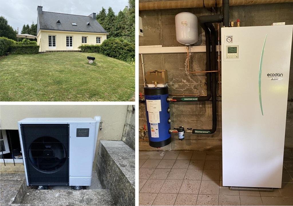 installation d'une pompe à chaleur mitsubishi electric à inguiniel -Morbihan (56)