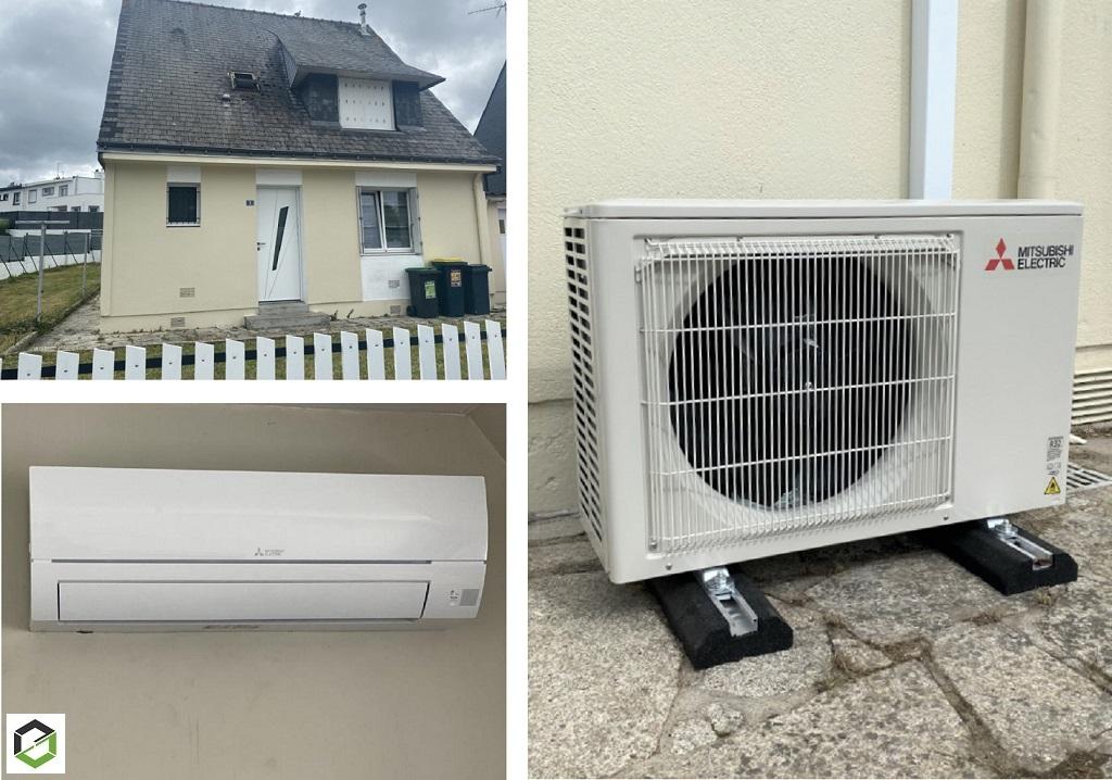 Installation d'une clim réversible (pompe à chaleur air air) mitsubishi electric-Morbihan (56)
