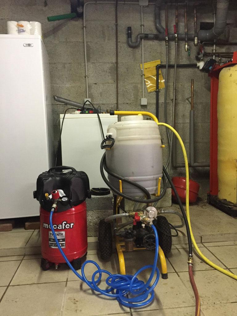 Désembouage d\'un réseaux radiateurs et plancher chauffant à PLOEREN 56 Morbihan