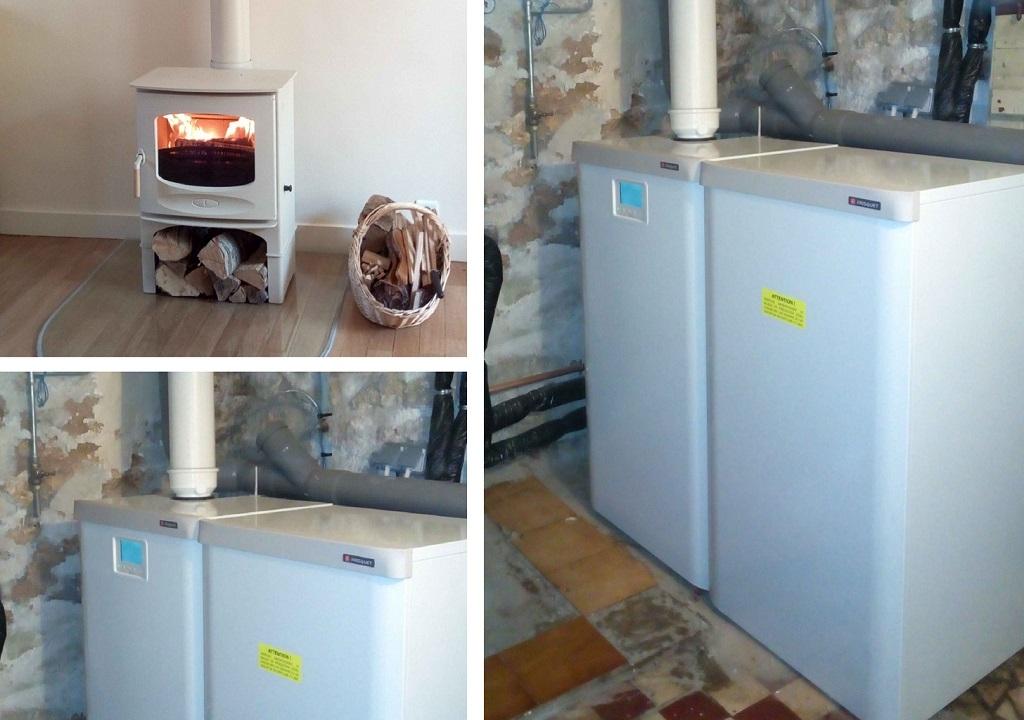 Chaudière gaz condensation Frisquet et poêle buches Charnwood
