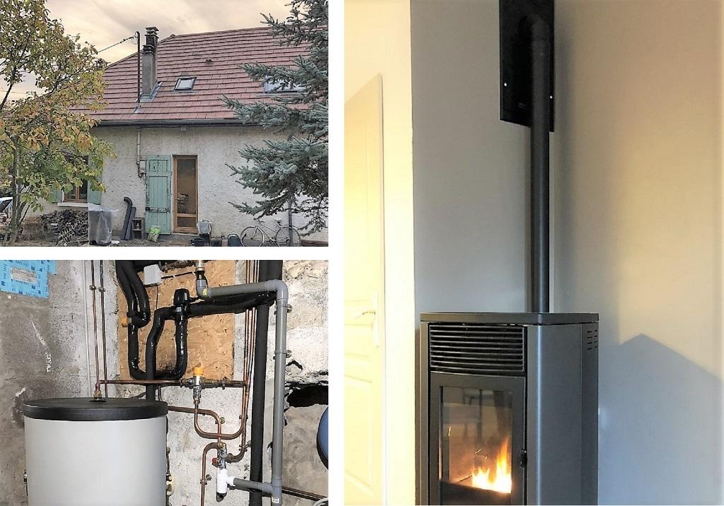Système de poêle granulés hydraulique bouilleur sur chauffage central - Isère-Isère (38)