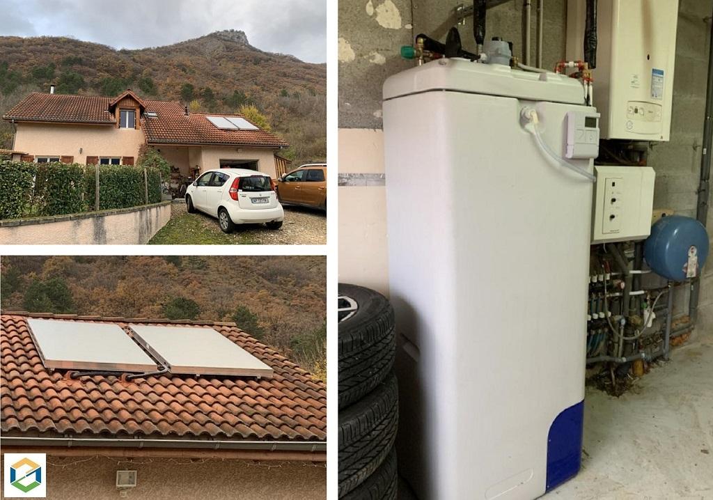 Installation d'un chauffe eau solaire en auto vidangeable à Vif Qualisol