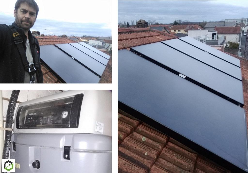Remplacement capteurs solaires thermiques (système combiné en auto-vidange)