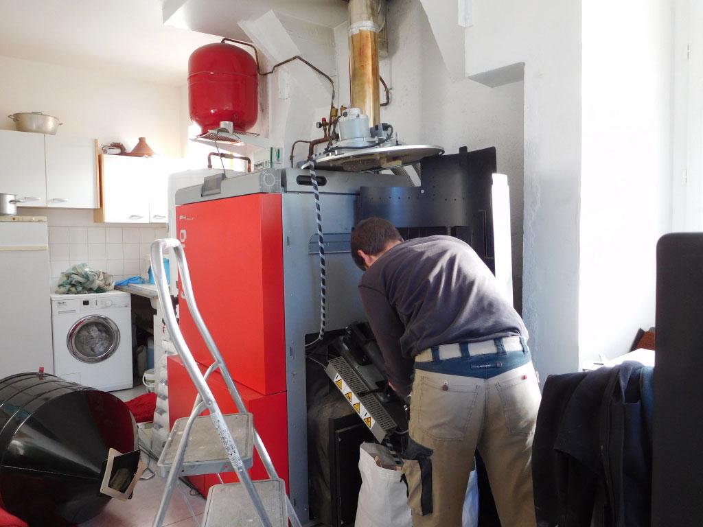 Entretien dépannage chaudière à granulés de bois Froling P4 60 kW, Lanne 65380