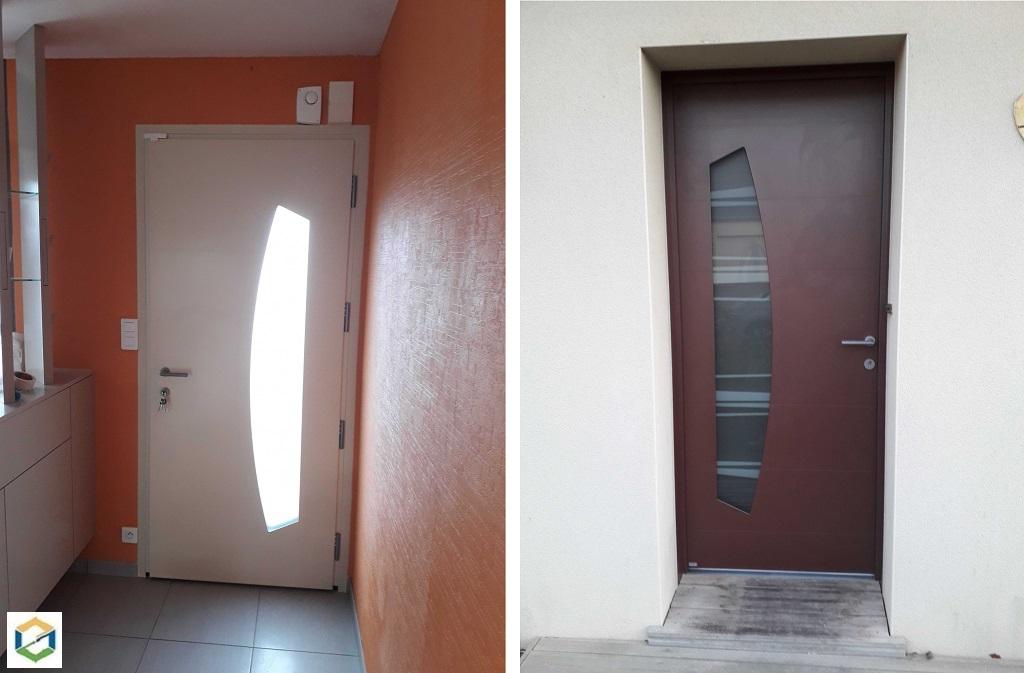 Installation d'une porte d'entrée en aluminium