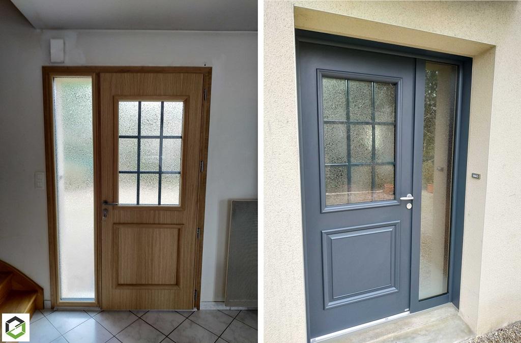 Installation d'une porte d'entrée mixte bois/alu