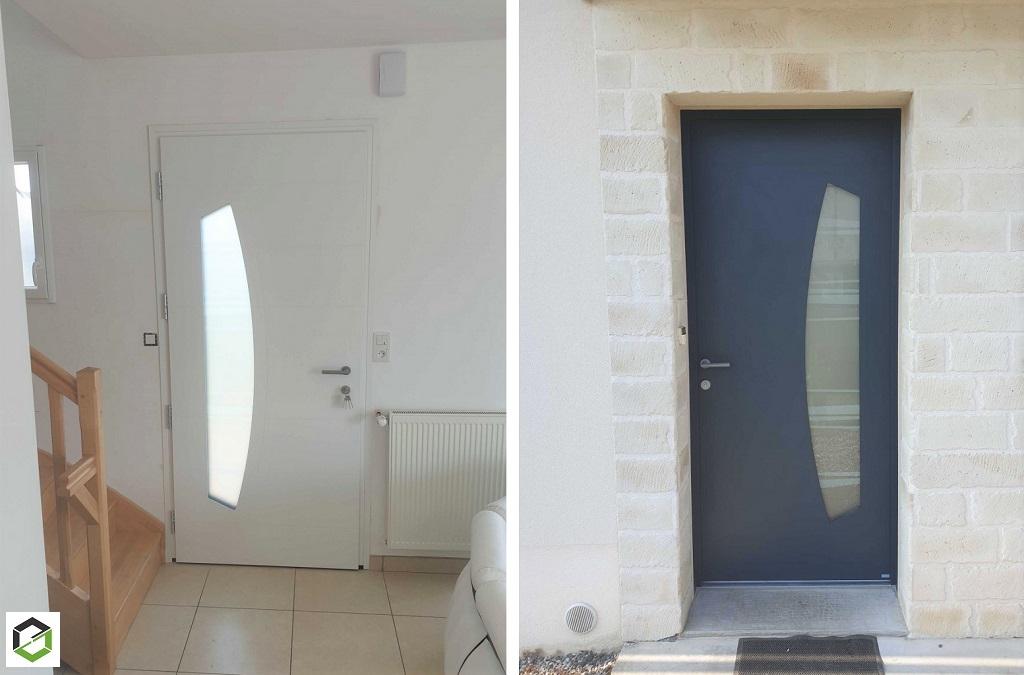Pose d'une porte d'entrée en aluminium