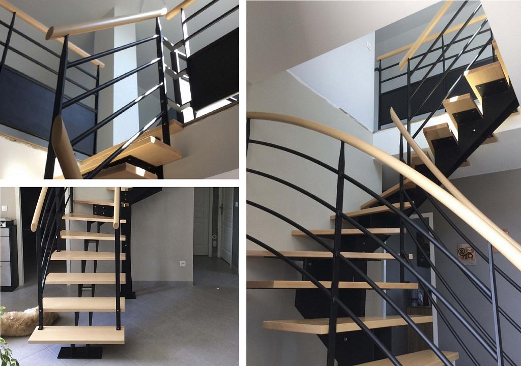 Escalier contemporain bois et métal en Sologne